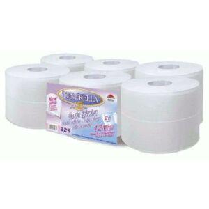 Toalettpapír, 2 rétegű, fehér, 19 cm átmérőjű