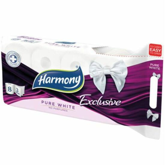Harmony toalettpapír 3 rétegű, 8 tekercses Pur White